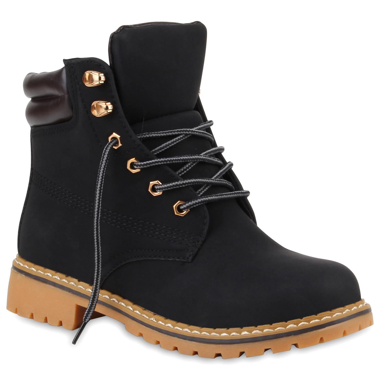 damen worker boots stiefeletten profilsohle outdoor schuhe. Black Bedroom Furniture Sets. Home Design Ideas