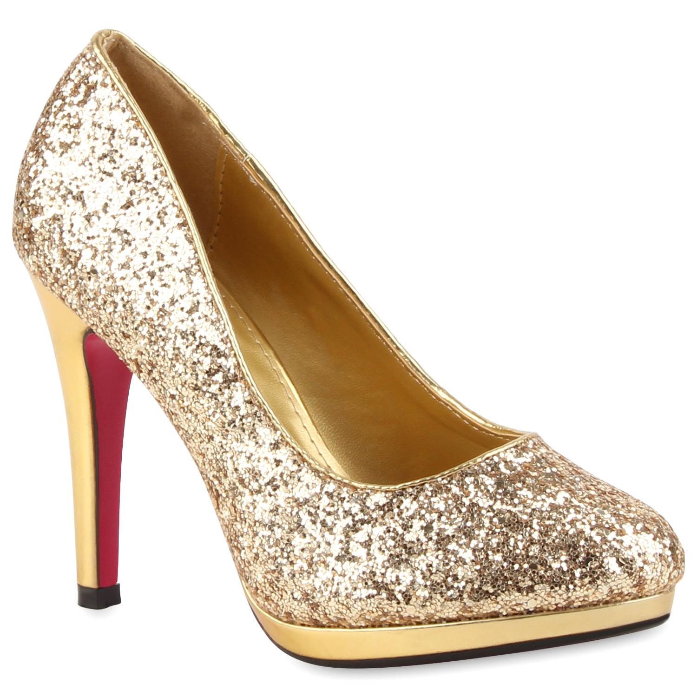 damen high heels glitzer pumps stiletto absatz party abendschuhe 78605 ebay. Black Bedroom Furniture Sets. Home Design Ideas