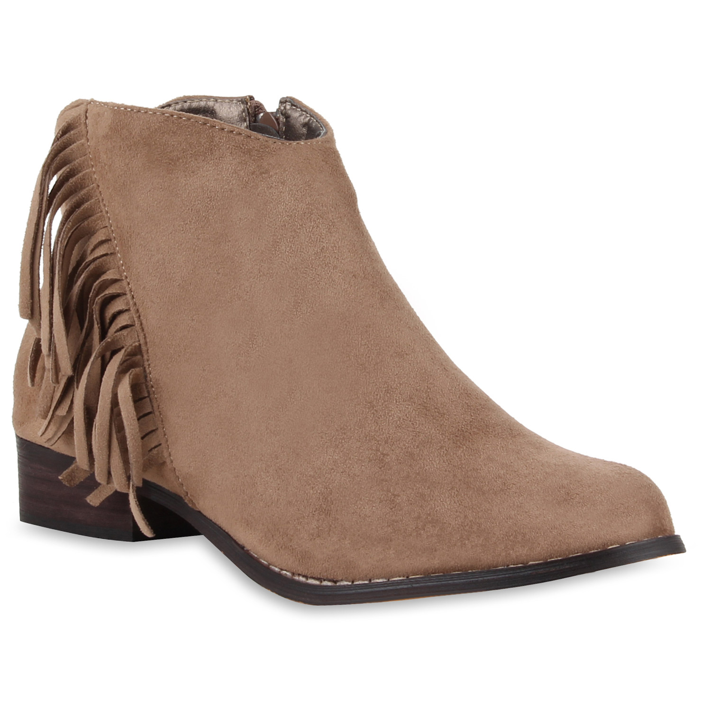modische damen ankle boots fransen veloursoptik. Black Bedroom Furniture Sets. Home Design Ideas