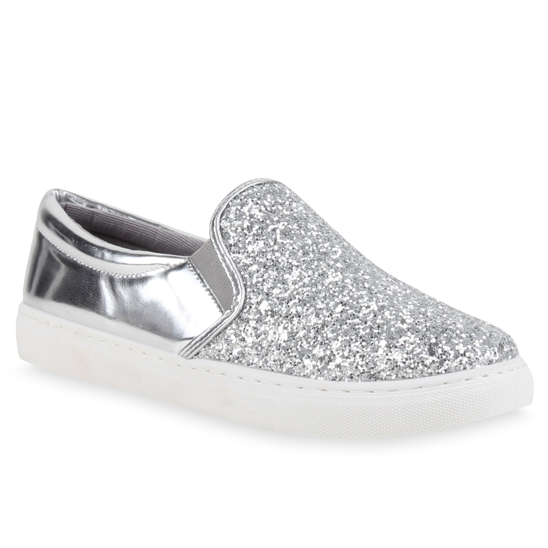 modische damen slip ons glitzer slipper metallic sneakers 78704 ebay. Black Bedroom Furniture Sets. Home Design Ideas