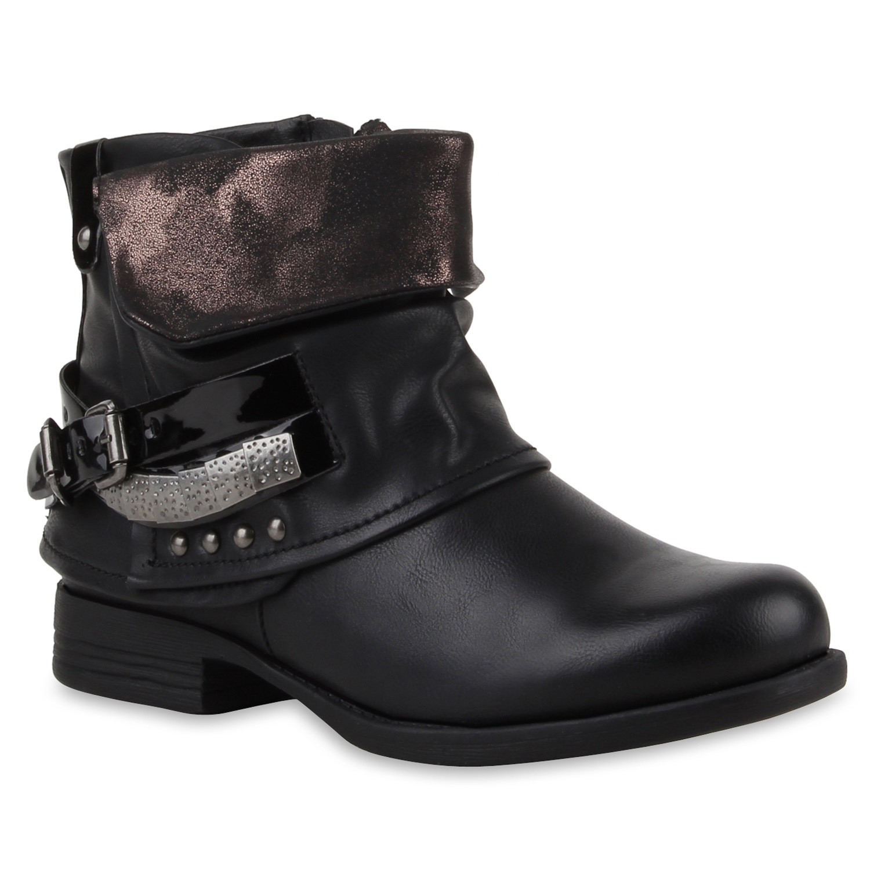 damen stiefeletten biker boots nieten lack stiefel 77621. Black Bedroom Furniture Sets. Home Design Ideas
