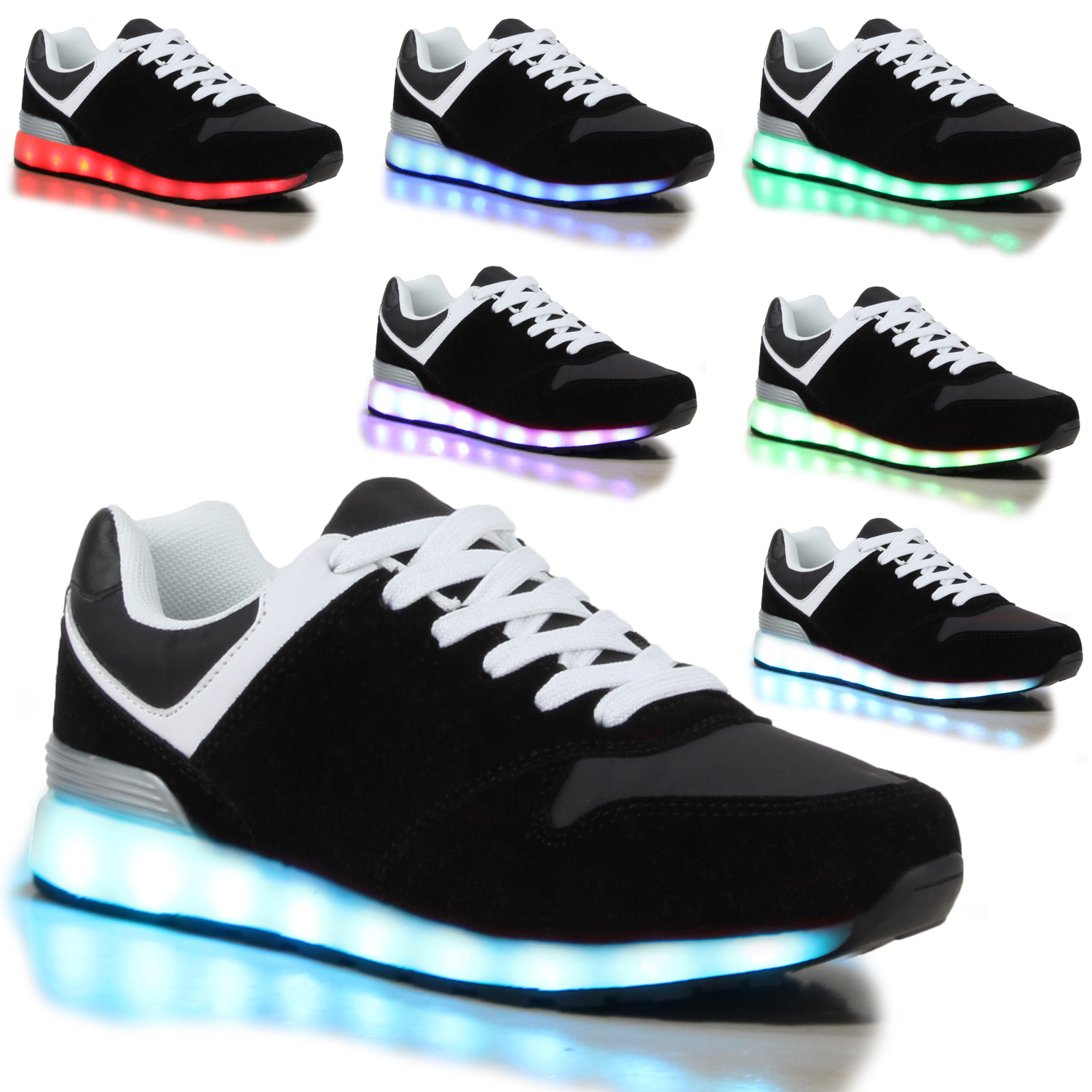blinkende damen sneakers high led light farbwechsel schuhe led licht 78754 ebay. Black Bedroom Furniture Sets. Home Design Ideas
