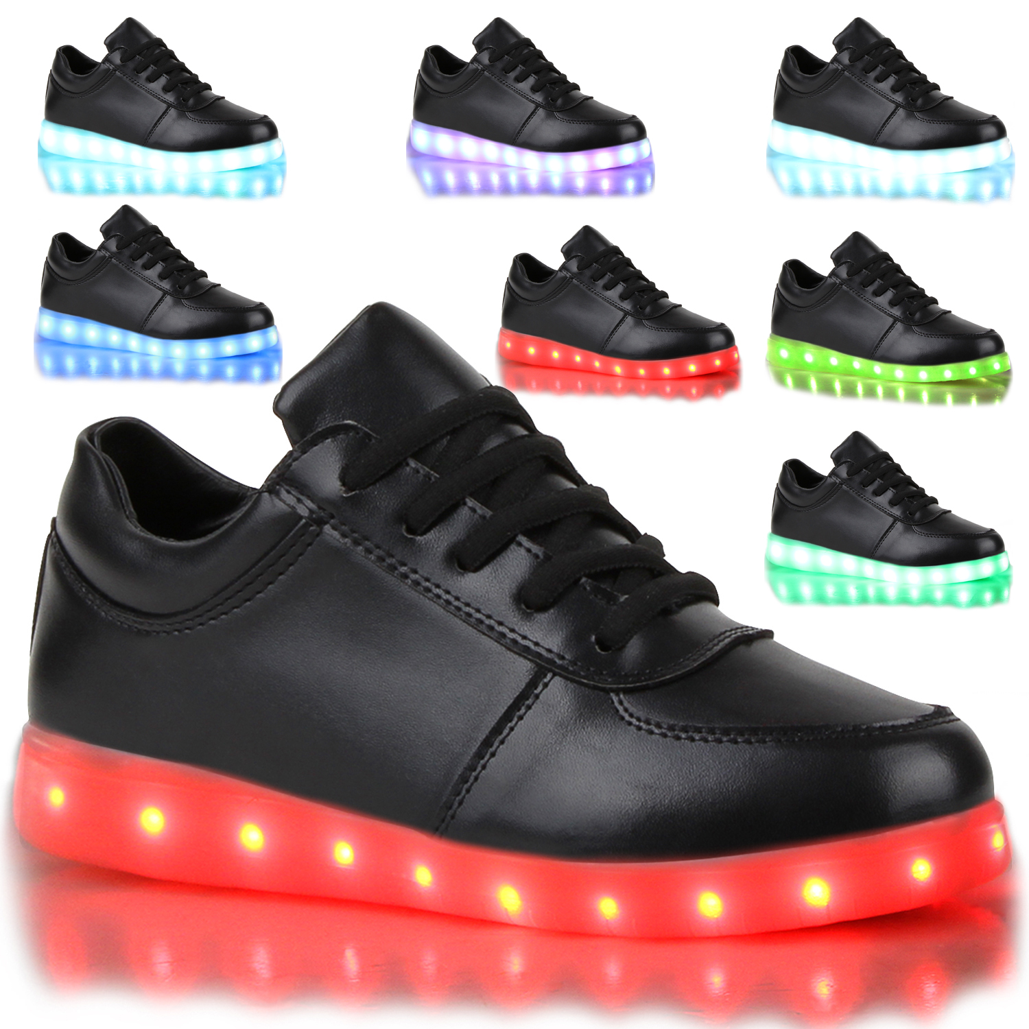 blinkende damen sneakers led light farbwechsel schuhe led licht 78811 trendy ebay