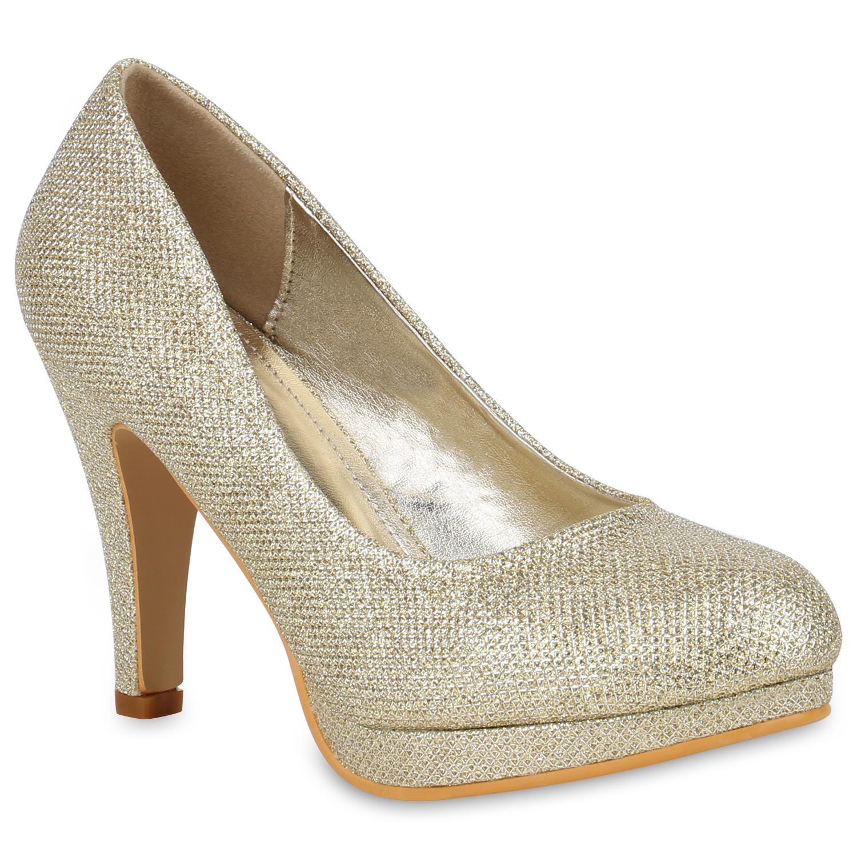 damen glitzer high heels pumps plateau vorne 78827 party. Black Bedroom Furniture Sets. Home Design Ideas