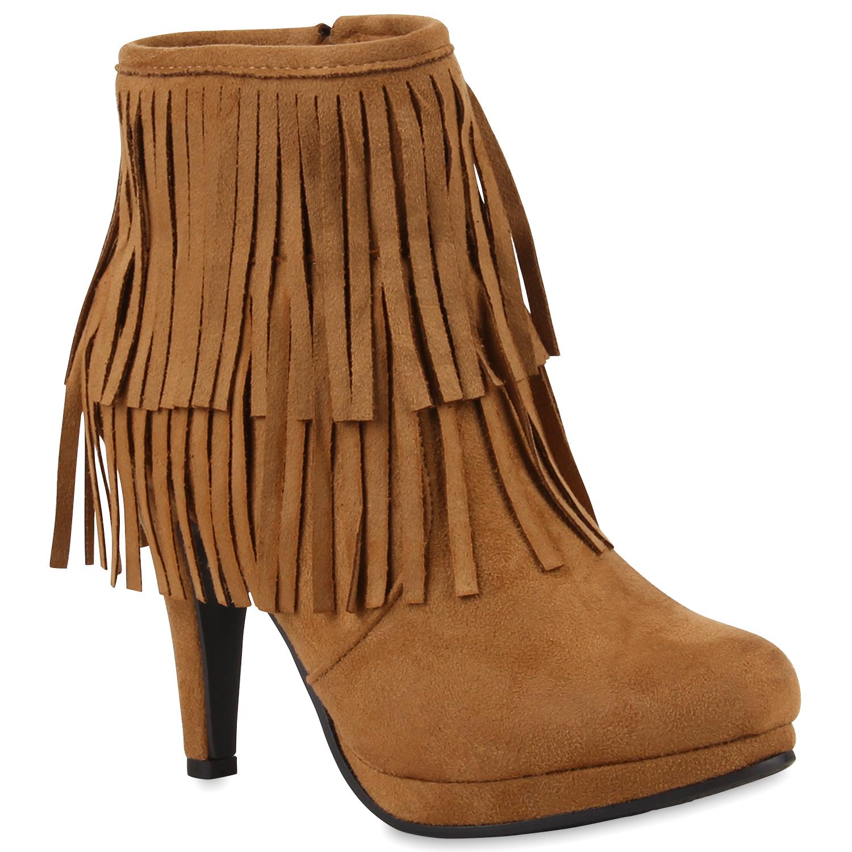 damen ankle boots fransen ethno stiefeletten veloursoptik. Black Bedroom Furniture Sets. Home Design Ideas
