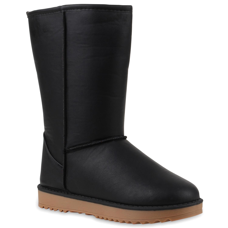 Bequeme Damen Schlupfstiefel Winter Boots Stiefel Gefüttert 70354 Gr. 36-41 Hot
