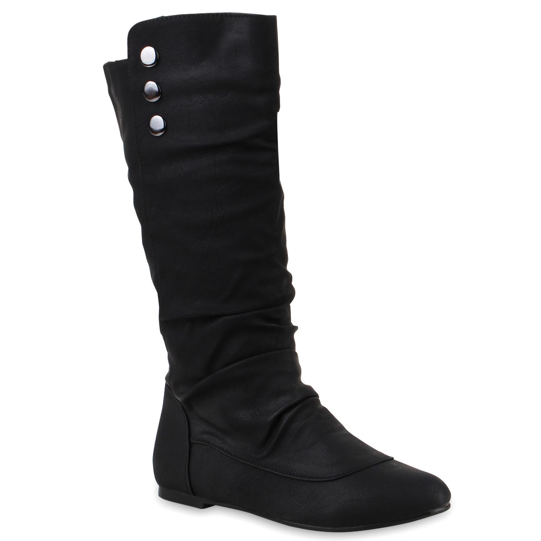 Warm Gefütterte Damen Stiefel Flache Boots Schlupfstiefel 78859 Hot
