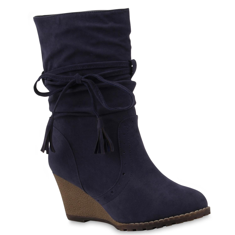 damen stiefeletten keilabsatz wedges profilsohle boots. Black Bedroom Furniture Sets. Home Design Ideas