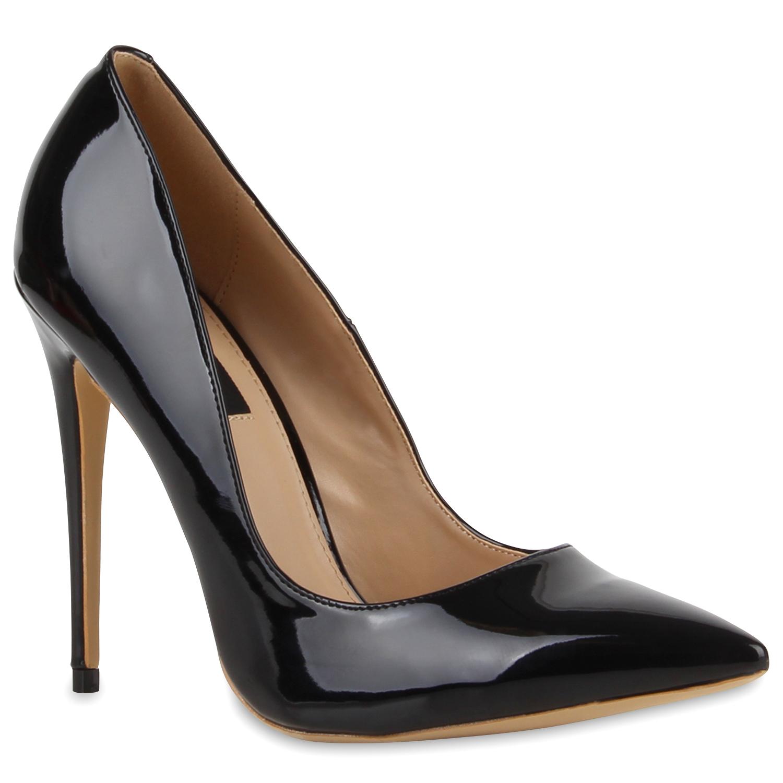 spitze damen pumps lack schuhe stilettos elegant abendschuhe 78916 ebay. Black Bedroom Furniture Sets. Home Design Ideas