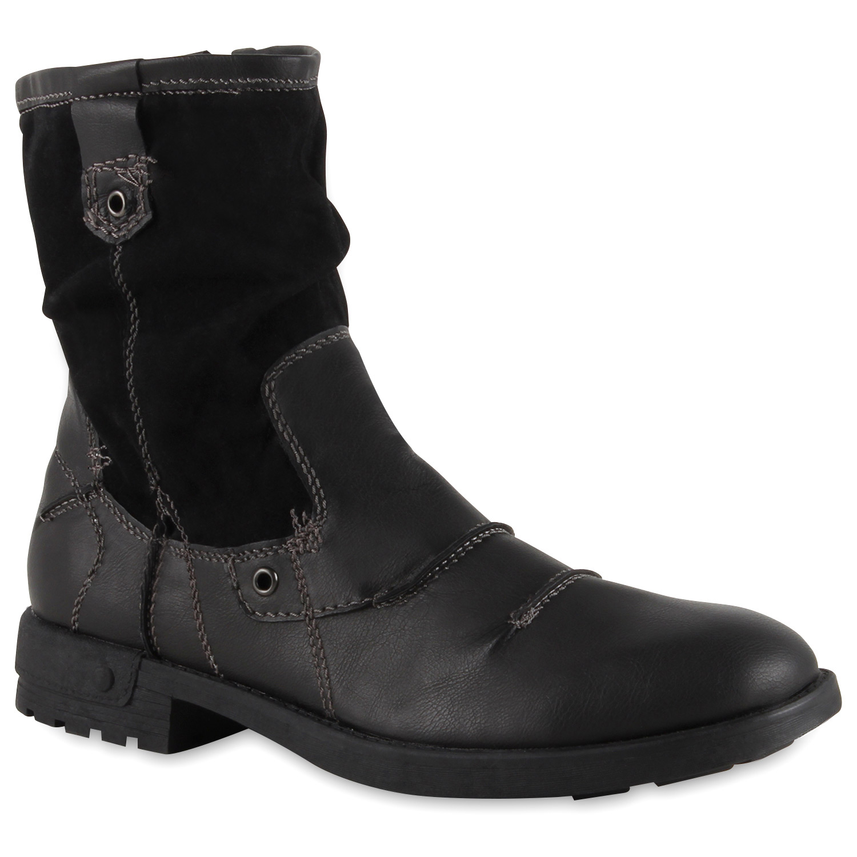 herren biker boots lederoptik outdoor schuhe profilsohle. Black Bedroom Furniture Sets. Home Design Ideas
