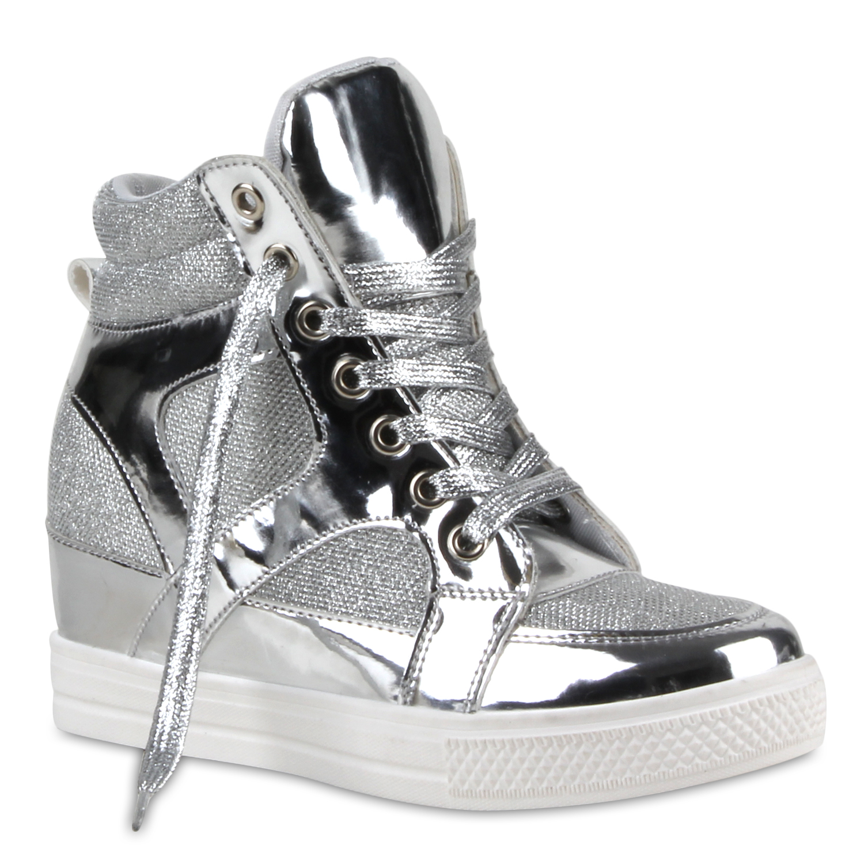 damen sneakers sneaker wedges lack glitzer wedges metallic. Black Bedroom Furniture Sets. Home Design Ideas