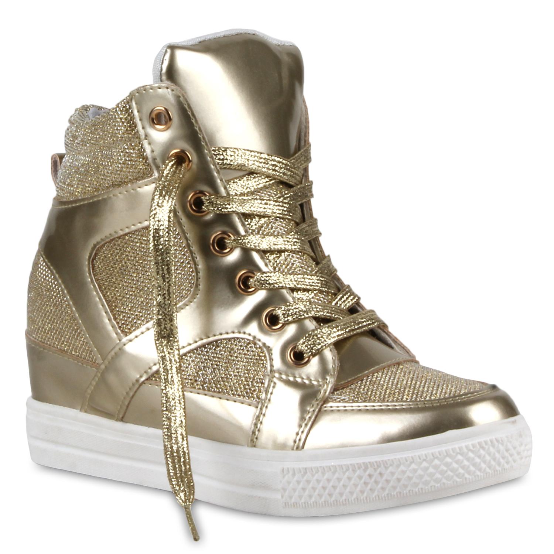 damen sneaker wedges glitzer keilabsatz metallic sneakers. Black Bedroom Furniture Sets. Home Design Ideas