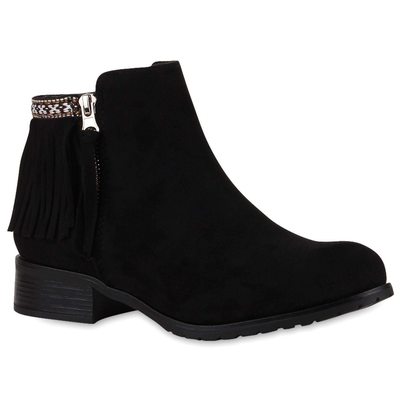 damen ankle boots fransen stiefeletten profilsohle. Black Bedroom Furniture Sets. Home Design Ideas