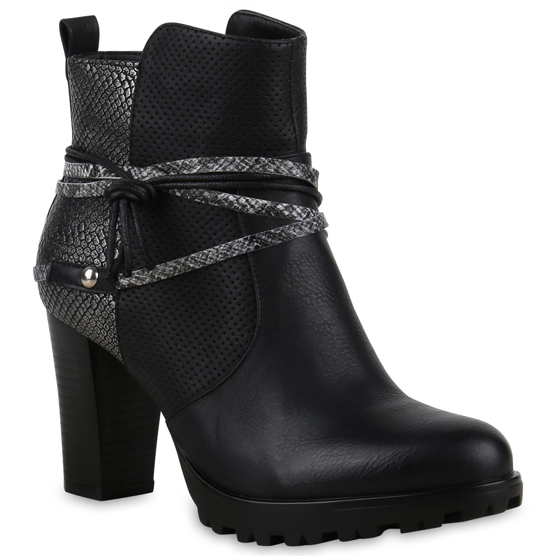damen ankle boots prints blockabsatz profilsohle. Black Bedroom Furniture Sets. Home Design Ideas