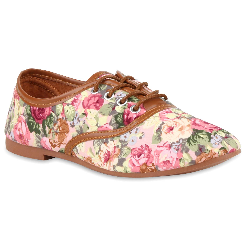 Neu Klassische Damen Schnürer Blumen Prints Halbschuhe Dandy Schuhe ...