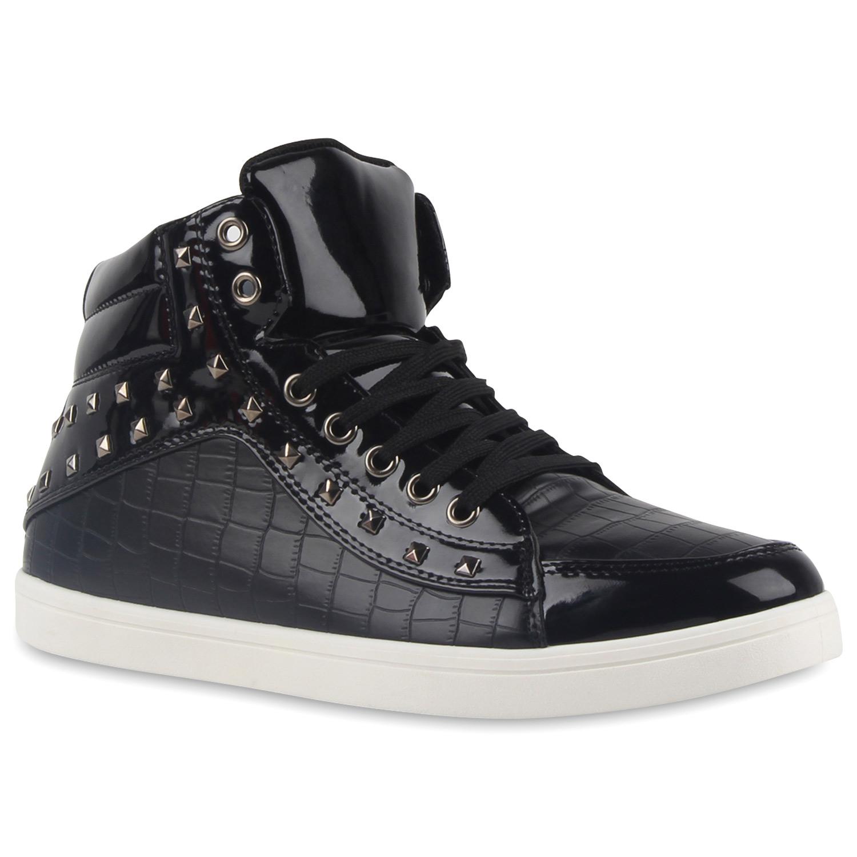 herren sneakers high top lack turnschuhe nieten modisch 79523 modatipp ebay. Black Bedroom Furniture Sets. Home Design Ideas