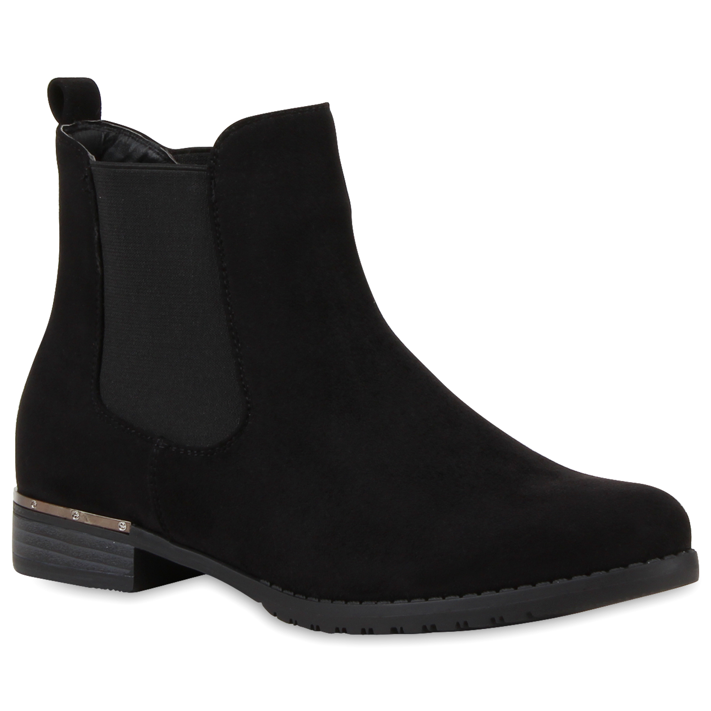 damen stiefeletten chelsea boots lederoptik schuhe 74475. Black Bedroom Furniture Sets. Home Design Ideas