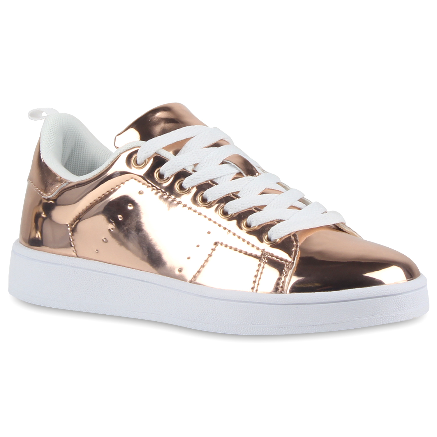 bequeme damen sneakers low metallic schn rer schuhe 79541