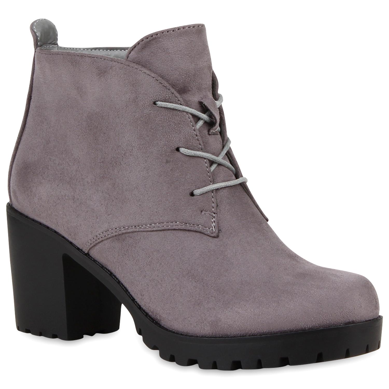 damen stiefeletten ankle boots profilsohle blockabsatz. Black Bedroom Furniture Sets. Home Design Ideas
