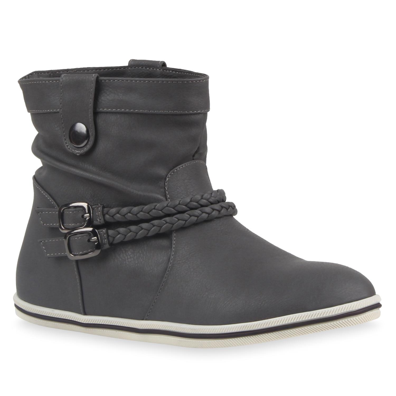 sportliche damen stiefeletten schnallen zierkn pfe flache boots 79654 ebay. Black Bedroom Furniture Sets. Home Design Ideas