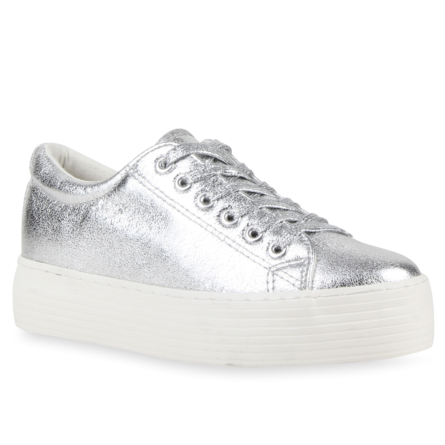 damen plateau sneakers low metallic turnschuhe glitzer schn rer 79663 ebay. Black Bedroom Furniture Sets. Home Design Ideas