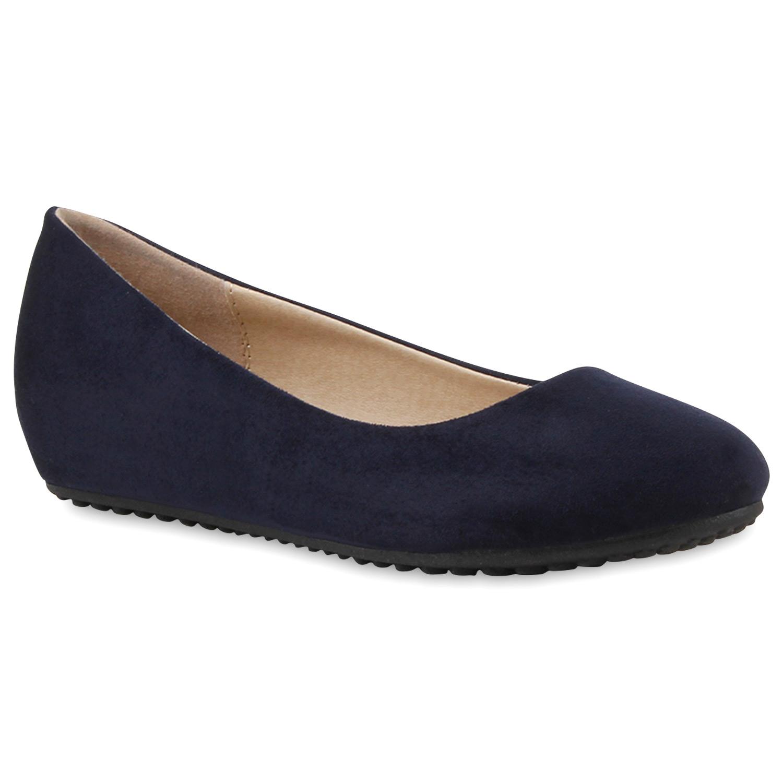 Klassische Damen Ballerinas Freizeit Schuhe Lederoptik Flats 79726 Mode