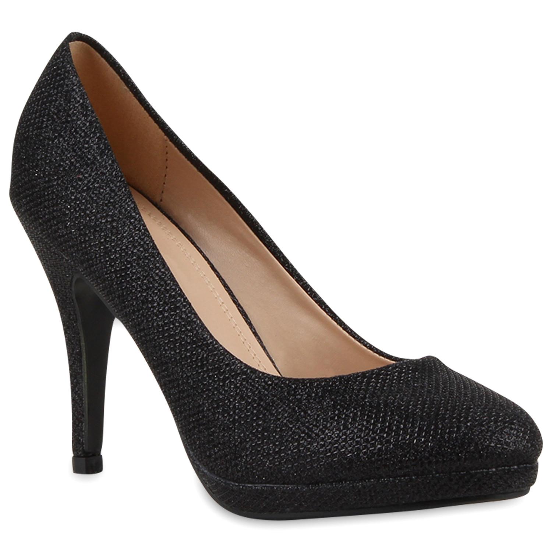 damen plateau pumps glitzer high heels stilettos. Black Bedroom Furniture Sets. Home Design Ideas