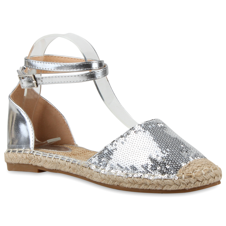 damen espadrilles bast sandalen pailletten metallic 79760 ebay. Black Bedroom Furniture Sets. Home Design Ideas