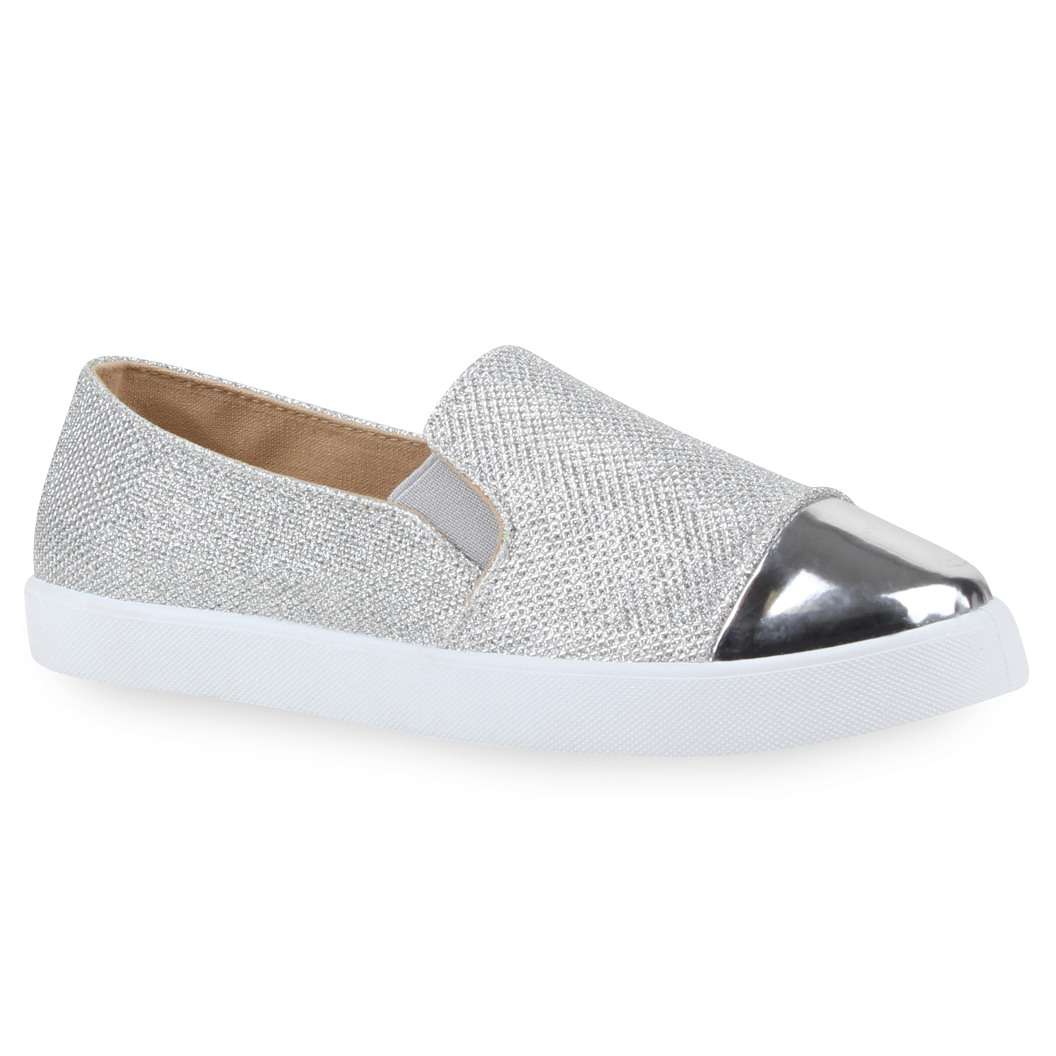 damen glitzer slip ons bequeme sneakers skater slipper metallic 79796 top ebay. Black Bedroom Furniture Sets. Home Design Ideas