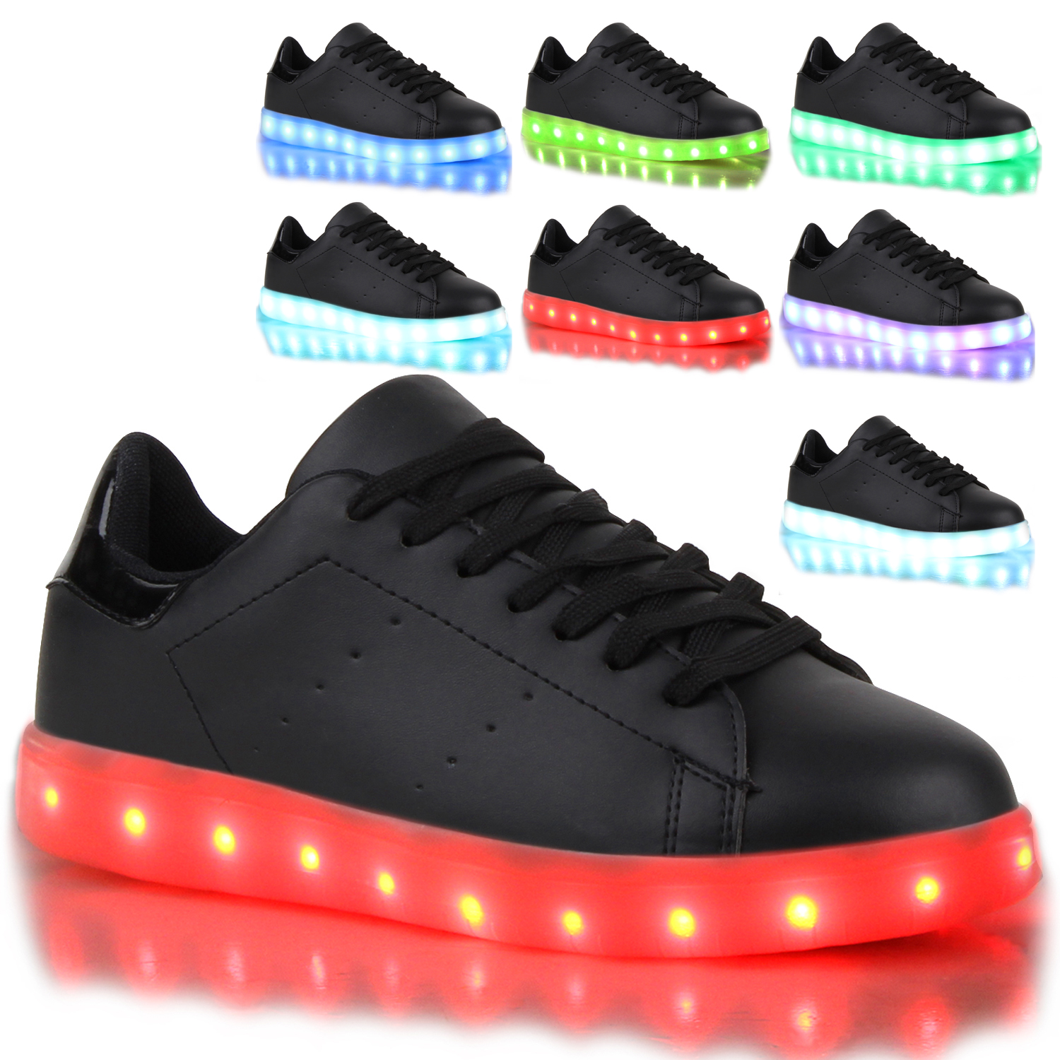 blinkende damen herren kinder sneakers farbwechsel schuhe led licht 78811 ebay. Black Bedroom Furniture Sets. Home Design Ideas