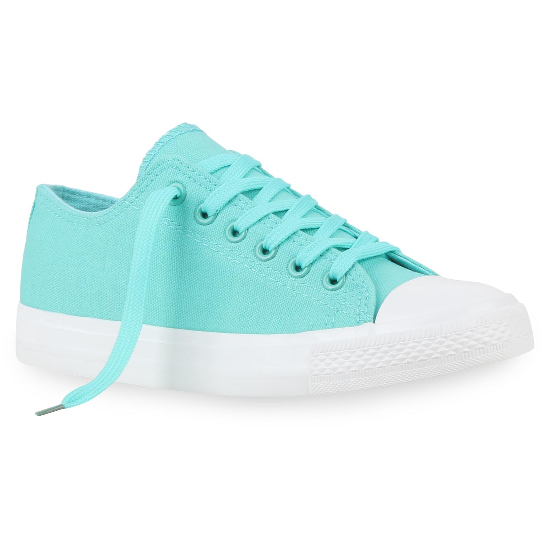 Damen Sneakers Pastell Spitze Schnürer Sportschuhe 75395 Schuhe