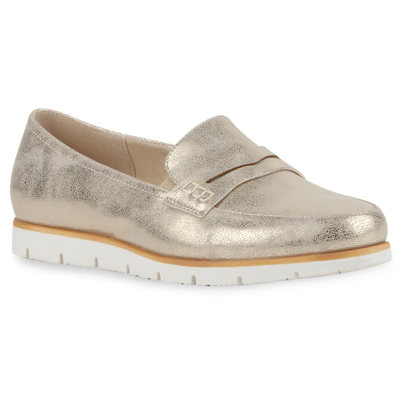 damen loafers metallic slipper helle profilsohle college schuhe 79891 ebay. Black Bedroom Furniture Sets. Home Design Ideas