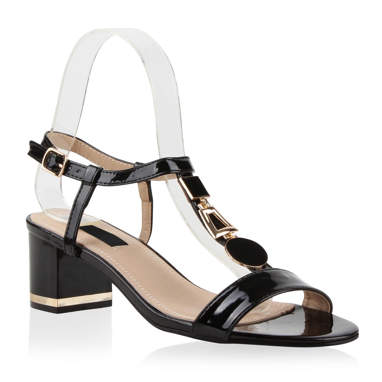 klassische damen sandaletten lack t strap schuhe blockabsatz 79919 modatipp ebay. Black Bedroom Furniture Sets. Home Design Ideas