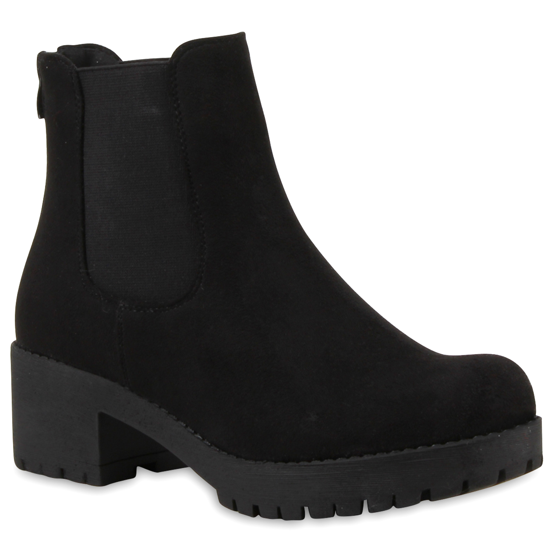 damen chelsea boots blockabsatz plateau stiefeletten lederoptik 79970 top ebay. Black Bedroom Furniture Sets. Home Design Ideas