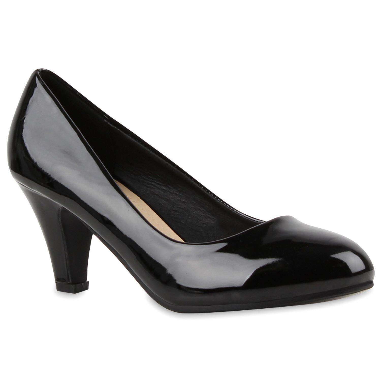 Klassische Damen Pumps Lederoptik Elegante Schuhe 890718