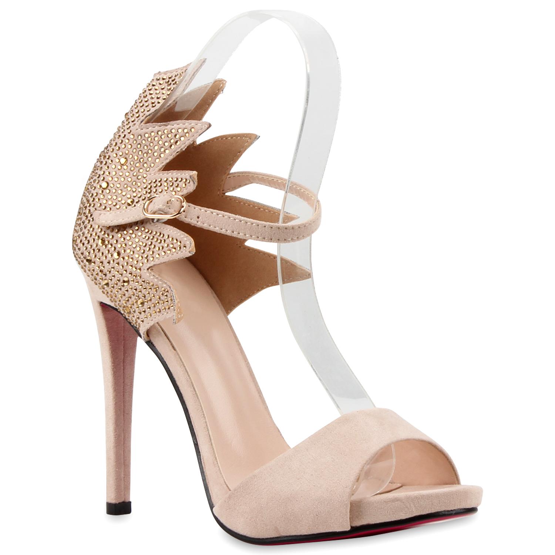 Damen Party Strass Sandaletten High Heels Stilettos 810158 Trendy