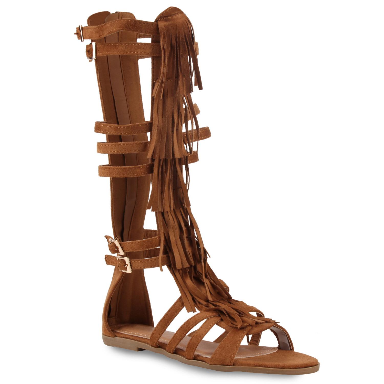 flache damen r mersandalen fransen sandalen lederoptik 810194 trendy ebay. Black Bedroom Furniture Sets. Home Design Ideas