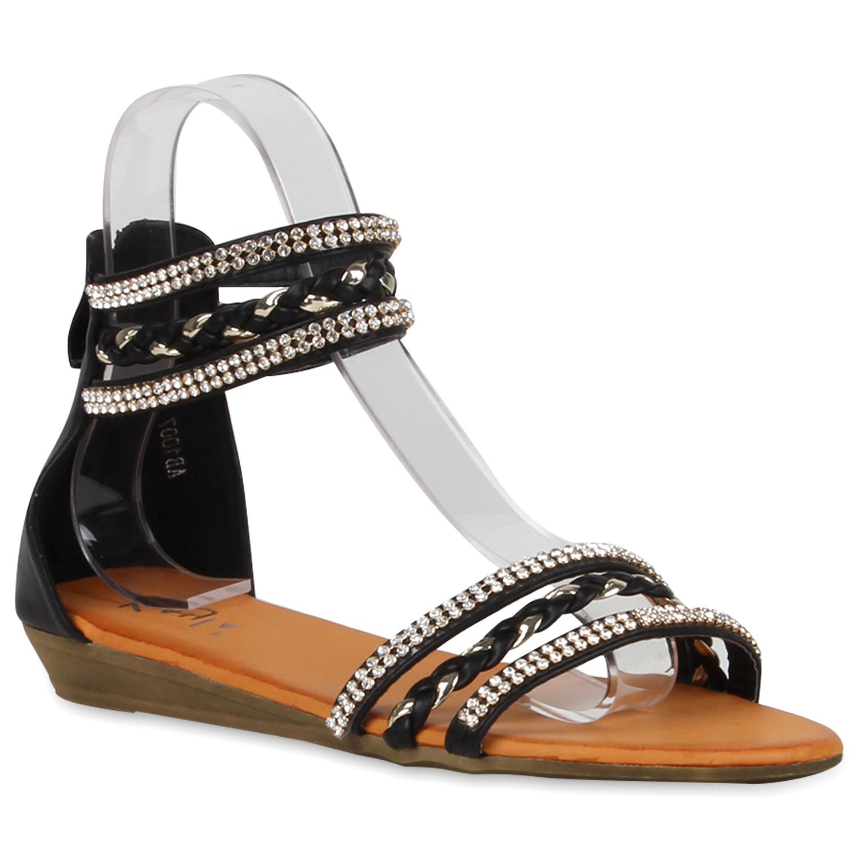 bequeme damen strass sandalen metallic riemchensandalen flats 810321 ebay. Black Bedroom Furniture Sets. Home Design Ideas
