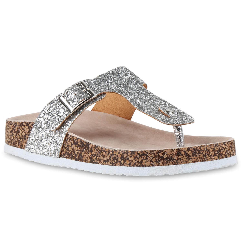bequeme damen sandalen glitzer zehentrenner profilsohle 810602 top ebay. Black Bedroom Furniture Sets. Home Design Ideas