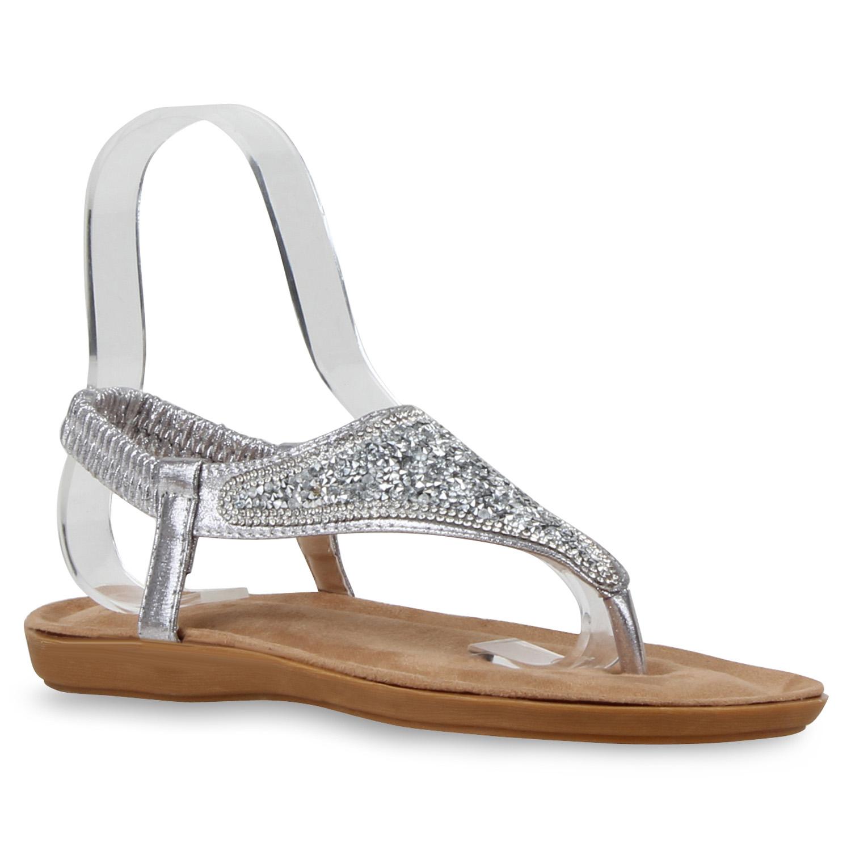 modische damen sandalen glitzer zehentrenner strass strandschuh 810648 top ebay. Black Bedroom Furniture Sets. Home Design Ideas