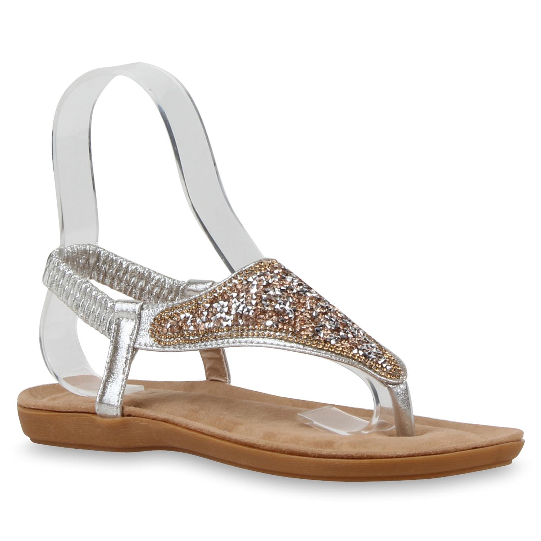 modische damen sandalen glitzer zehentrenner strass. Black Bedroom Furniture Sets. Home Design Ideas