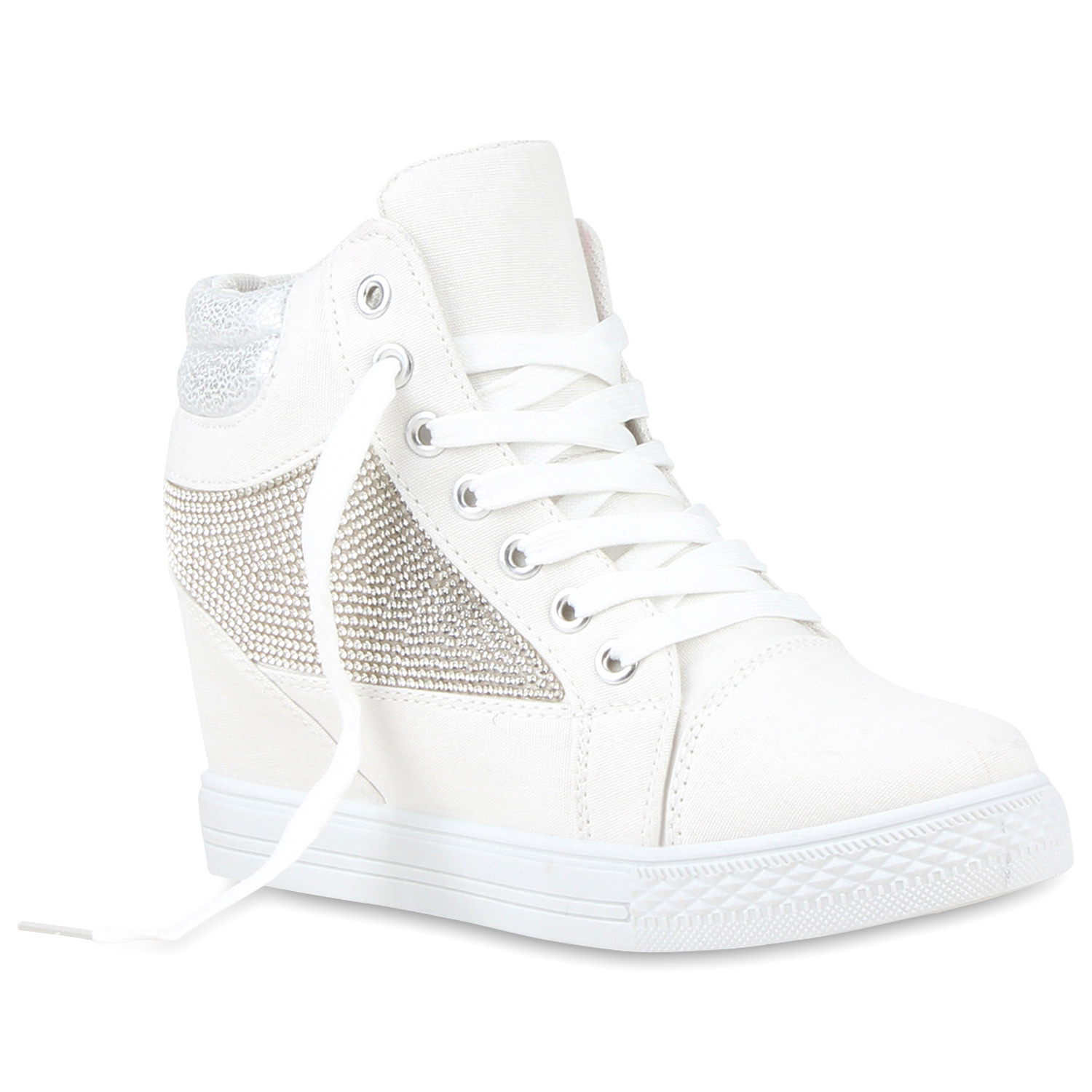 modische damen sneakers strass sneaker wedges keilabsatz 810653 ebay. Black Bedroom Furniture Sets. Home Design Ideas