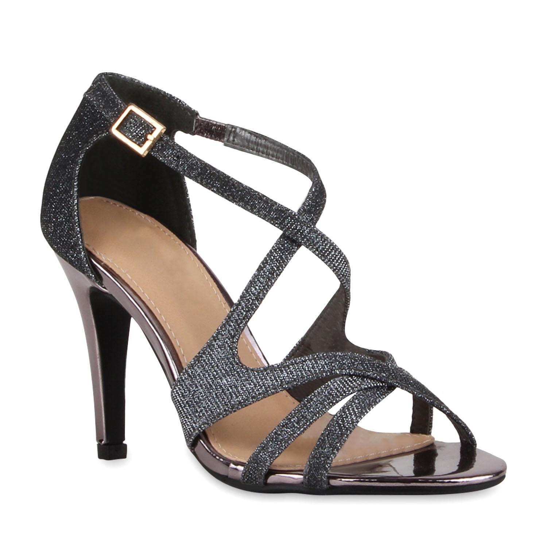 modische damen sandaletten glitzer high heels metallic. Black Bedroom Furniture Sets. Home Design Ideas