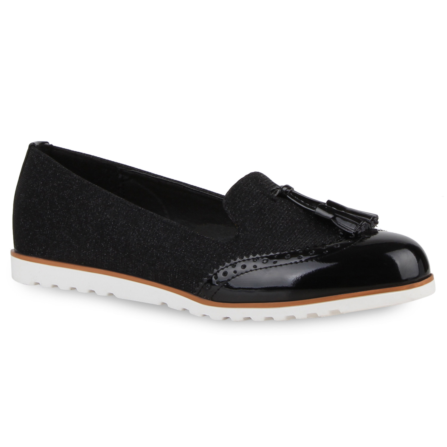 modische damen slipper glitzer tassel loafers lack profil sohle 811006 new look ebay. Black Bedroom Furniture Sets. Home Design Ideas