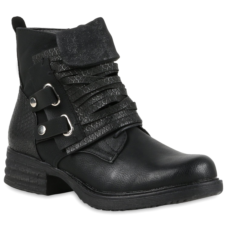 damen biker boots stiefeletten kroko schnallen kunstleder 811017 ebay. Black Bedroom Furniture Sets. Home Design Ideas