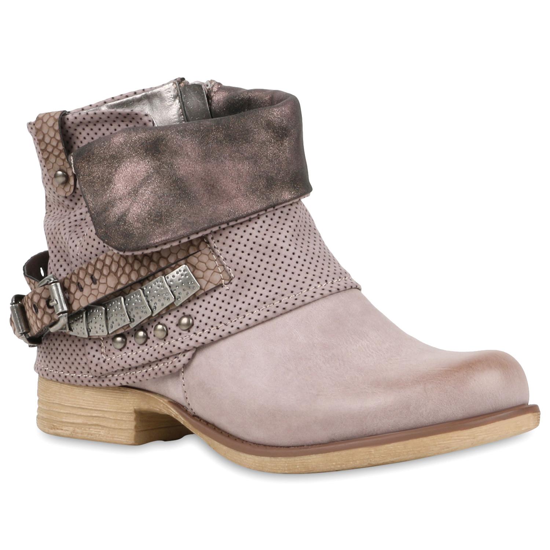 damen stiefeletten biker boots nieten schnallen lederoptik 78874 trendy ebay. Black Bedroom Furniture Sets. Home Design Ideas