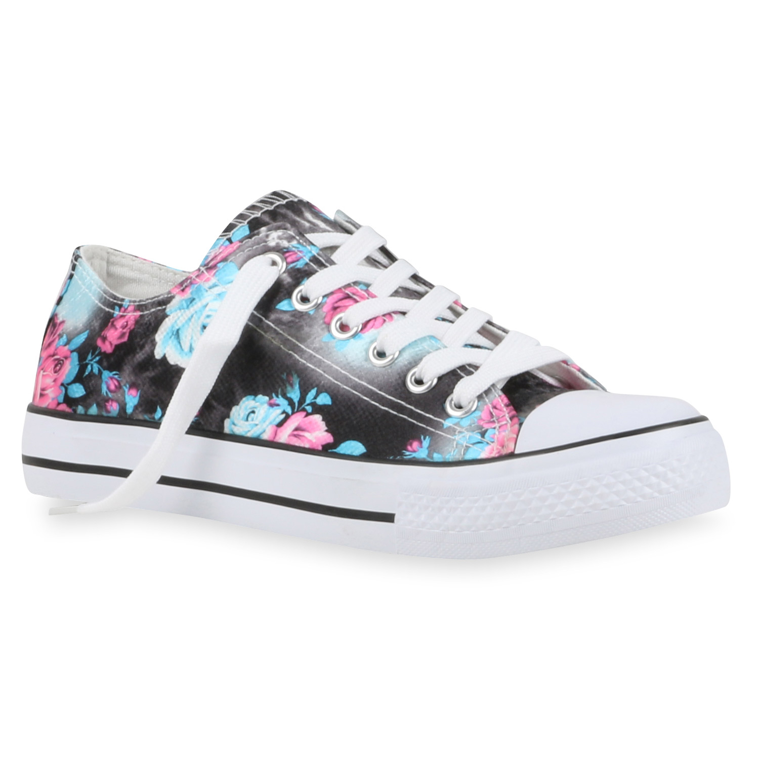 freizeit damen sneakers bunte prints canvas schuhe 811076 top ebay. Black Bedroom Furniture Sets. Home Design Ideas