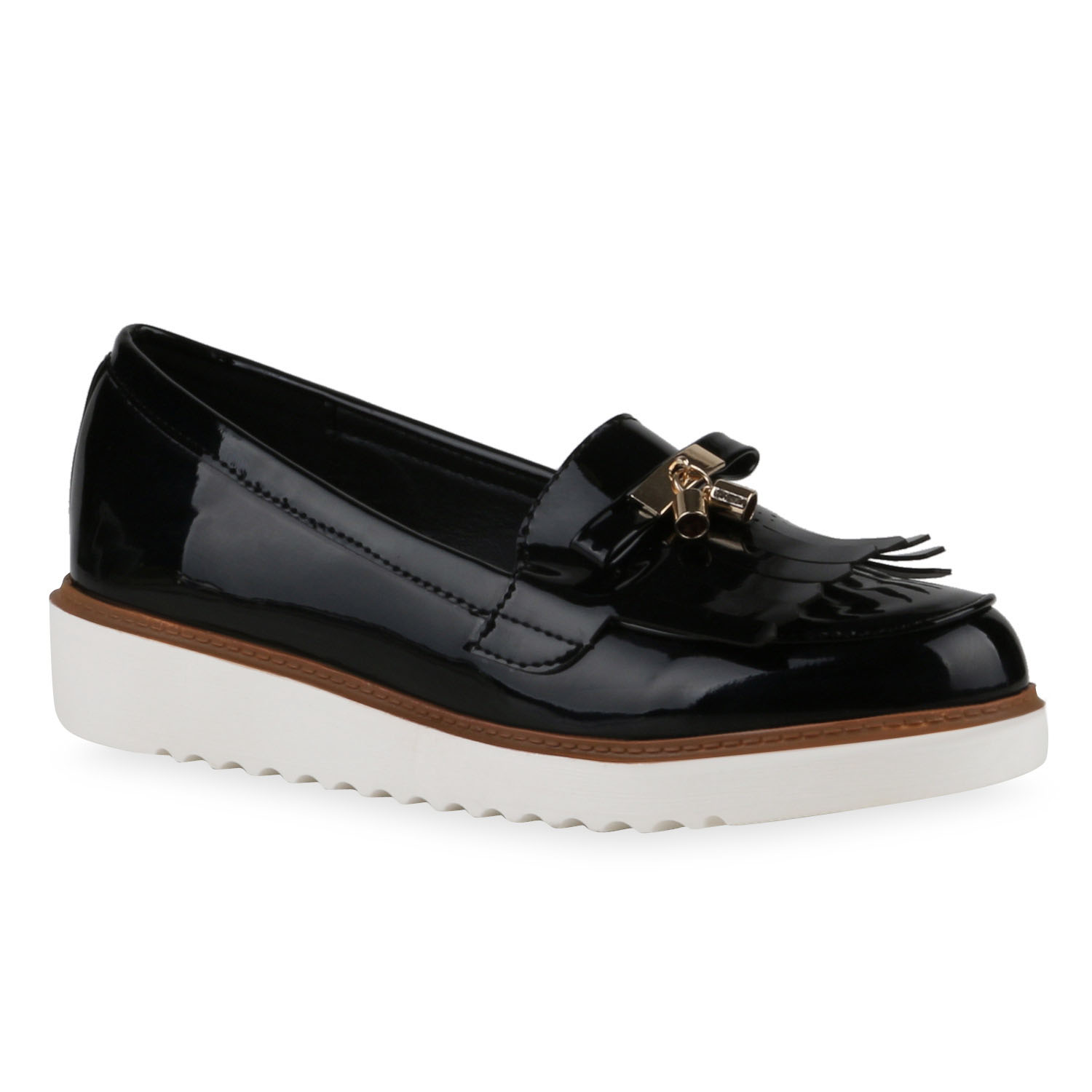 modische damen slipper lack tassel loafers fransen metallic 811223 ebay. Black Bedroom Furniture Sets. Home Design Ideas