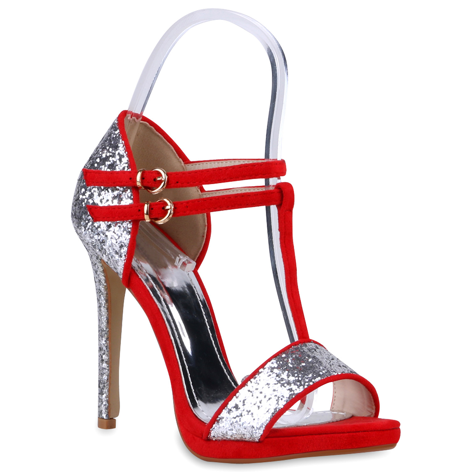 damen glitzer sandaletten high heels riemchen schuhe party. Black Bedroom Furniture Sets. Home Design Ideas