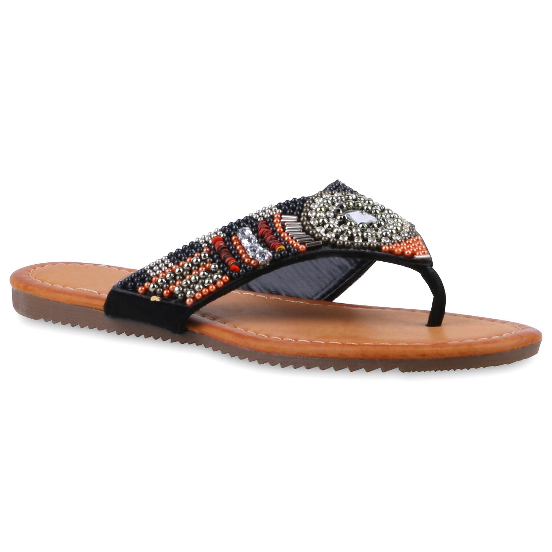 zehentrenner damen strass sandalen perlen sommer schuhe 811390 ebay. Black Bedroom Furniture Sets. Home Design Ideas